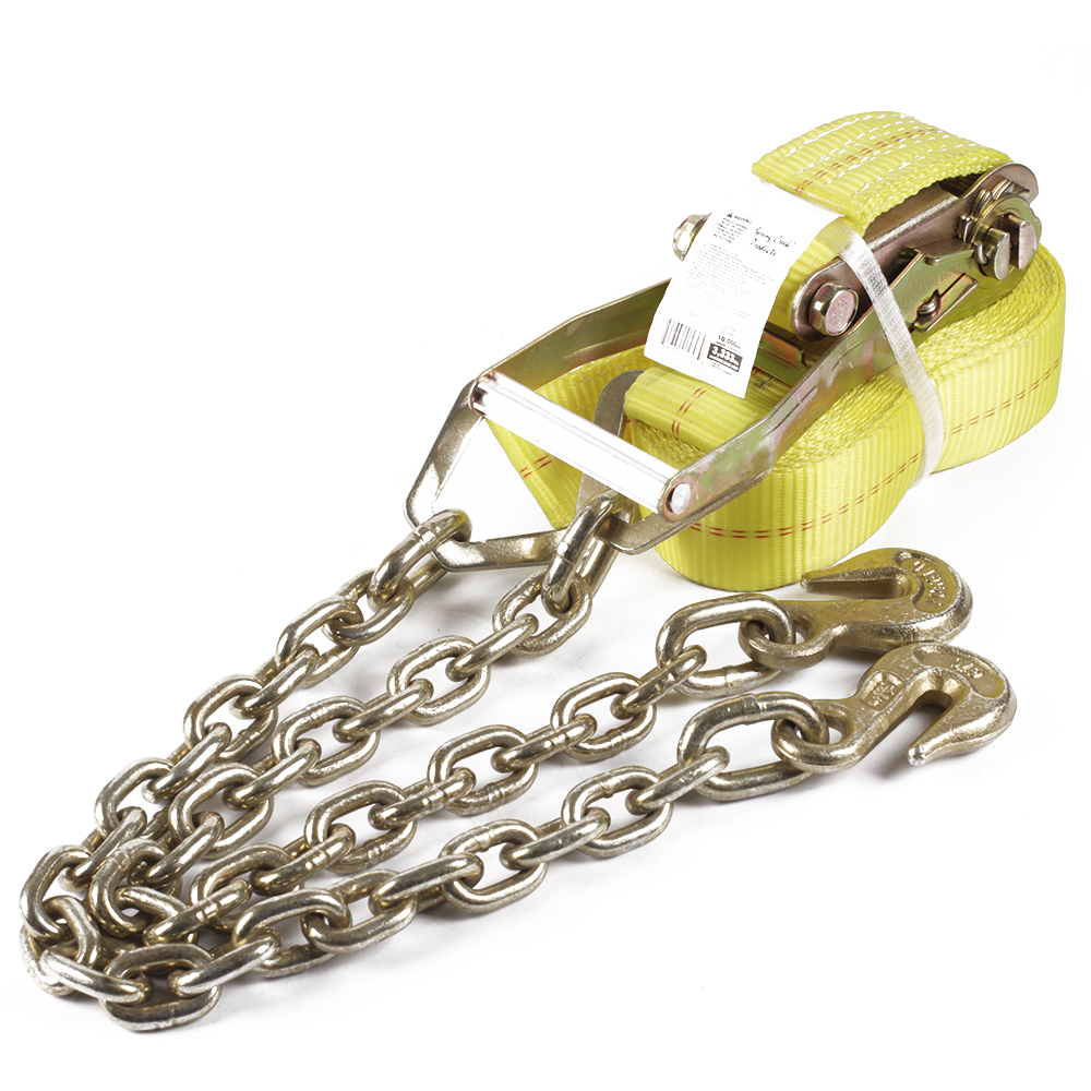 2'' Trailer Ratchet Tie-down Straps with Chain